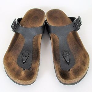 Birkenstock 33 Kids Black Gizeh Thong Leather